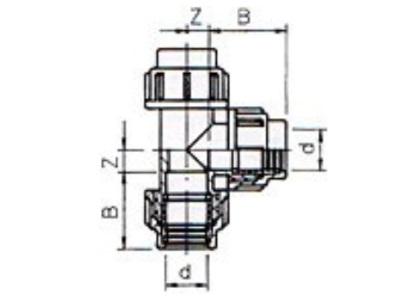 Pe t stuk 32x32x32 klemverbinding