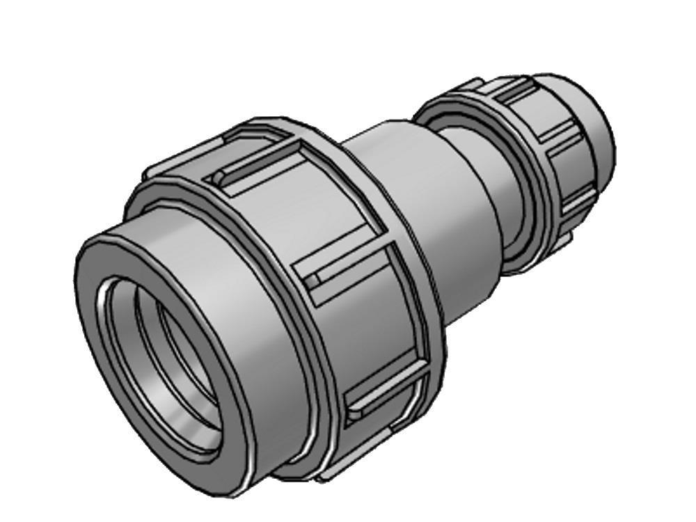 PE verloopkoppeling 25 x 16 mm 16bar
