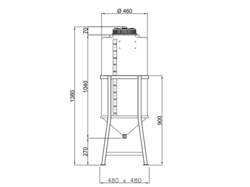 LLDPE vat 138L met schroefdop - cilindrisch - incl. frame