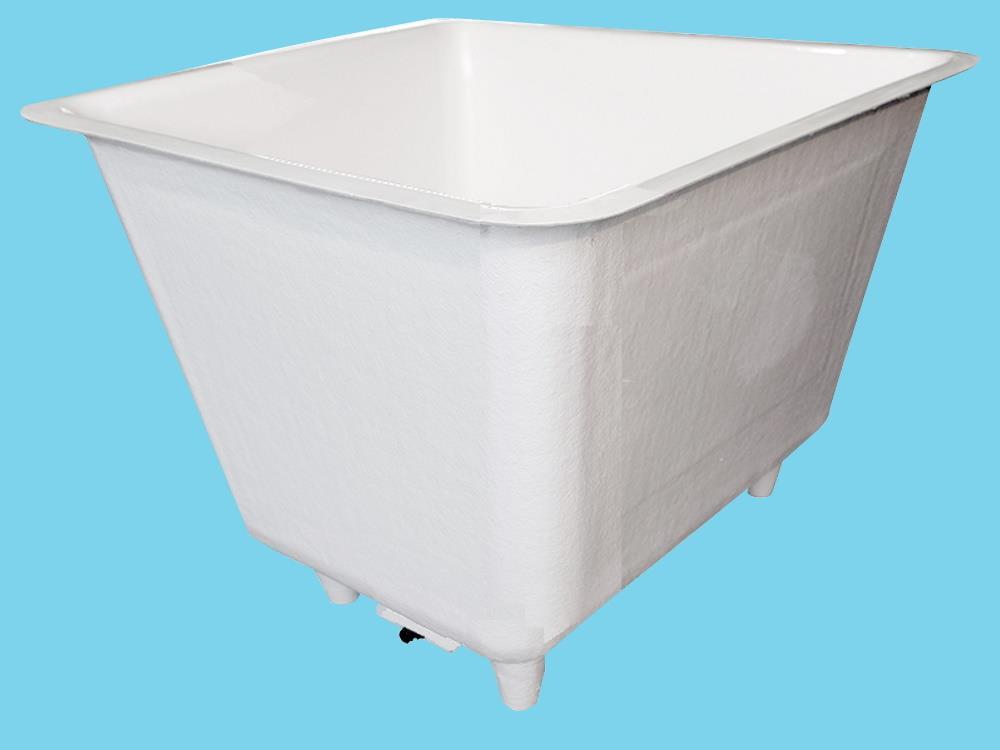 Polyesterbak 1500L vierkant 120x120x150cm + poten&aftapbakje