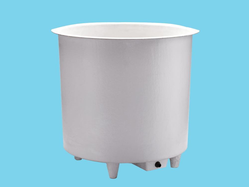 Polyesterbak 1500L rond Ø160x92cm hoog + poten&aftapbakje