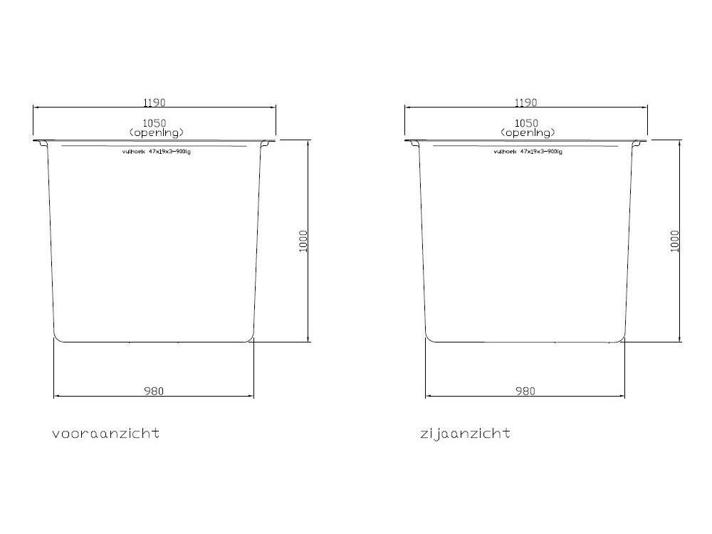 Vierkante poly bak 120x120x100cm 1000l