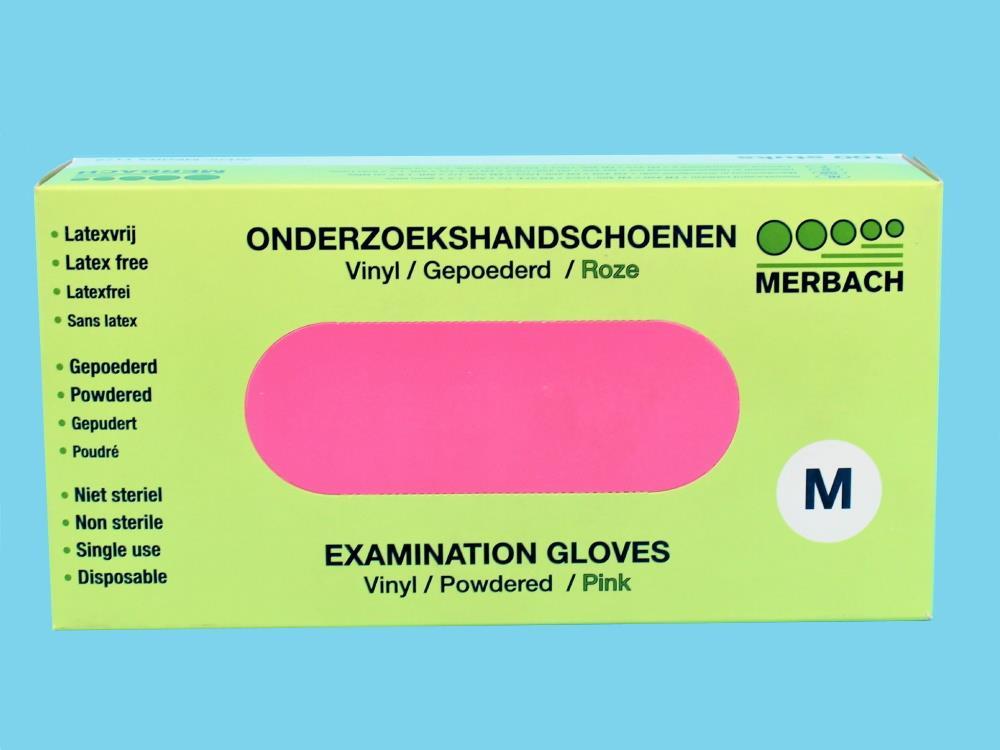 Merbach vinyl gepoederd roze M 100st