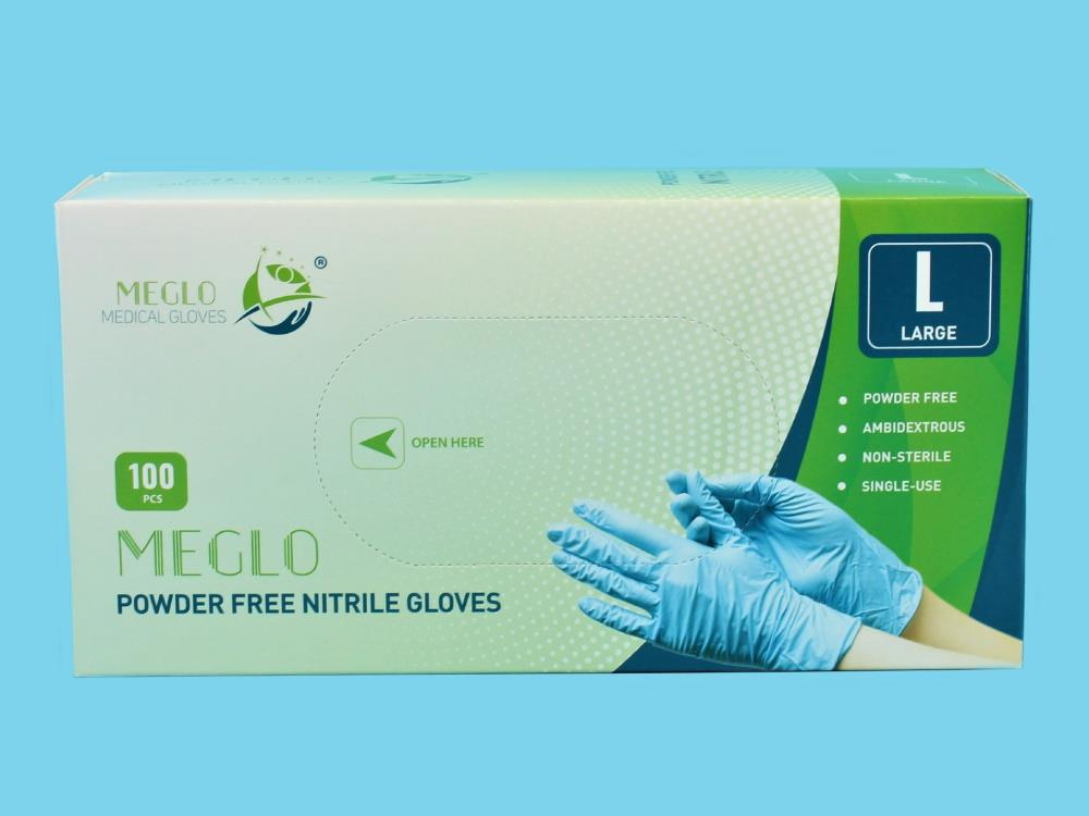 Handschoen nitril poedervrij blauw maat L, 100st