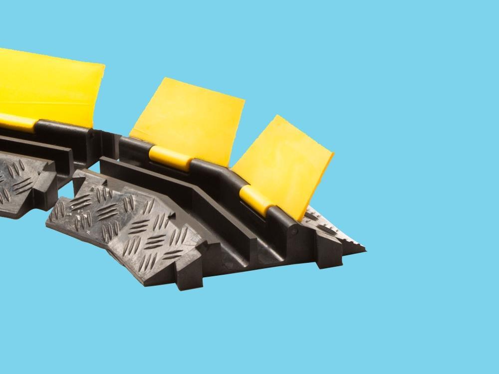 Kabelbrug 2 kanaals bochtstuk links 400x255x45mm zwart/geel