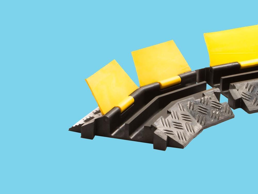 Kabelbrug 2 kanaals bochtstuk rechts 400x255x45mm zwart/geel
