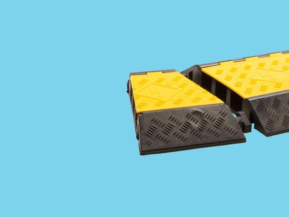Kabelbrug 3 kanaals bochtstuk links 310x505x76mm zwart/geel
