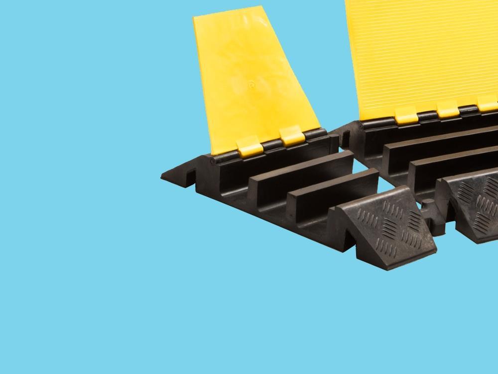Kabelbrug 3 kanaals bochtstuk rechts 310x505x76mm zwart/geel