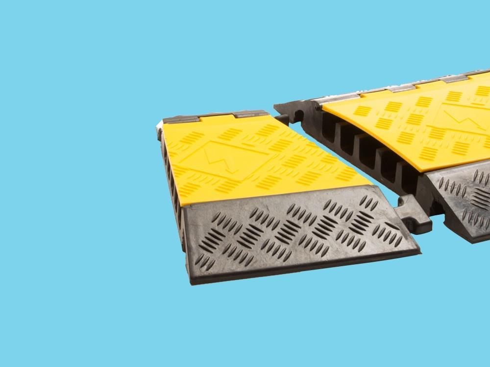 Kabelbrug 5 kanaals bochtstuk links 310x501x55mm zwart/geel