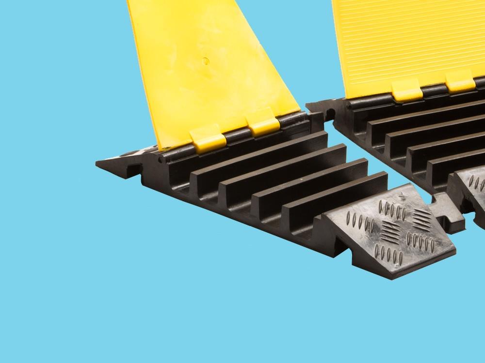 Kabelbrug 5 kanaals bochtstuk rechts 310x501x55mm zwart/geel