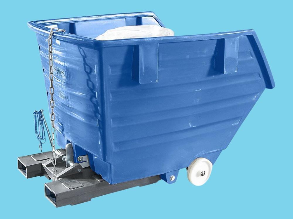 Kiepbak PE 1m³ blauw verrijdbaar met vorkkokers