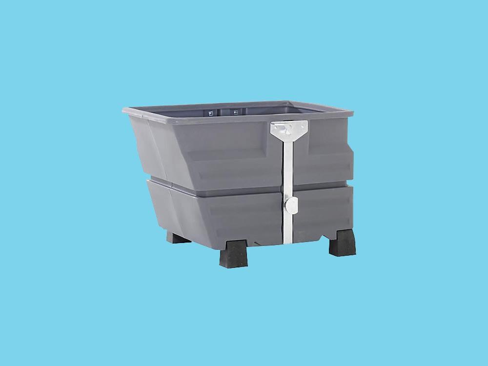 Kiepbak PE 0,8m³ grijs met traverseophanging