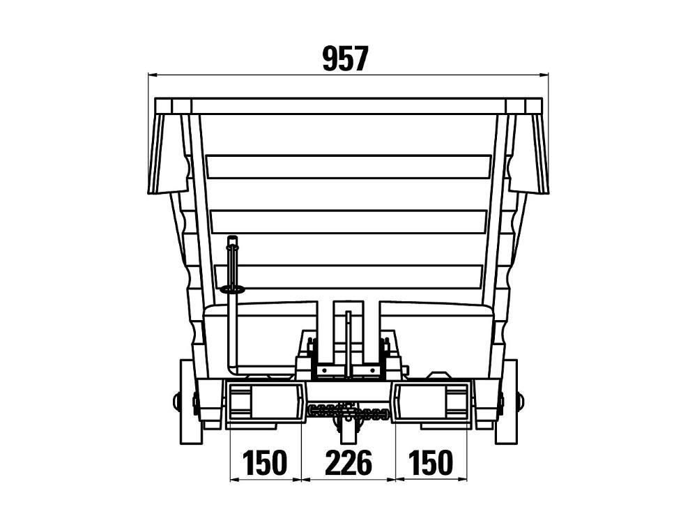 Kiepbak PE 0,5m³ grijs verrijdbaar met vorkkokers
