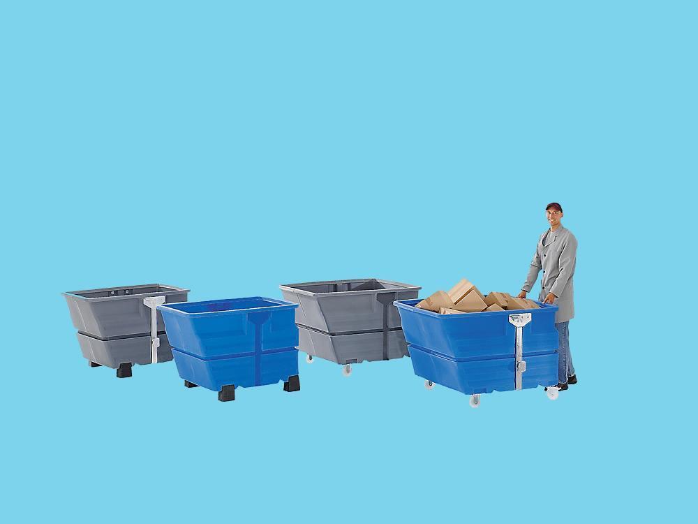 Kiepbak PE 0,6m³ blauw verrijdbaar