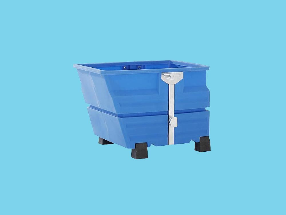 Kiepbak PE 0,6m³ blauw met traverseophanging