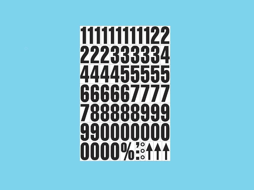Magnetische cijfers op A4 zwart-wit 2 stuks