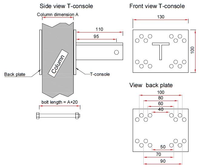 T-console voor poot 70 mm - Complete set