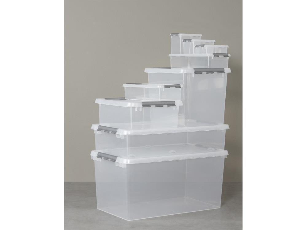 Opbergbox, transp/metal 25L (6 stuks)