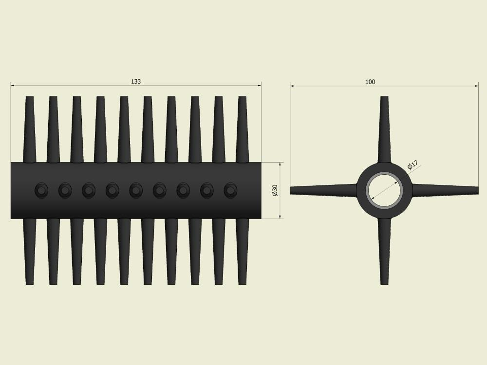 Borstel ontblader BTM lange pen hard