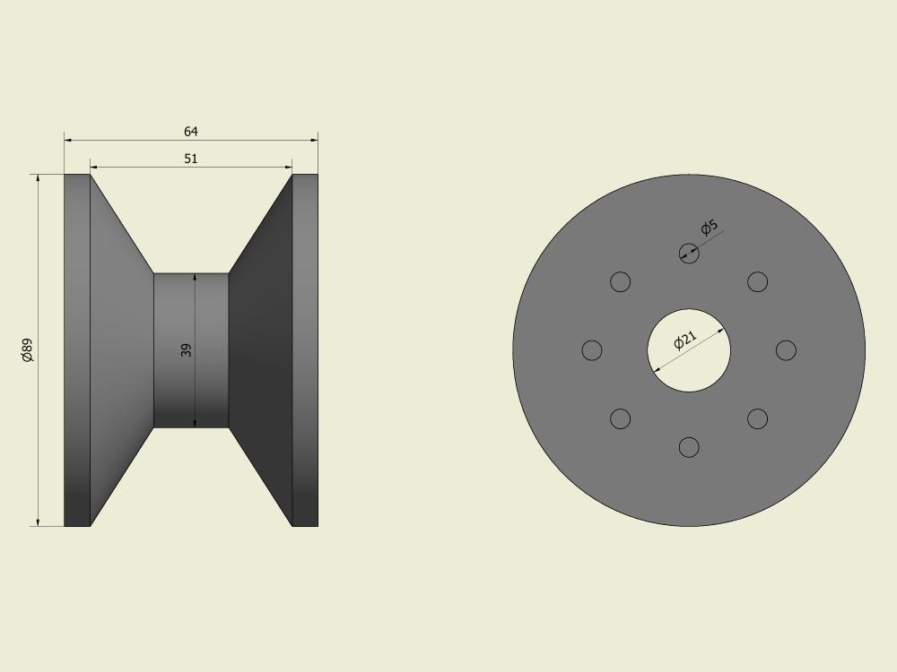 Diabolowiel rubber (buis 51mm)