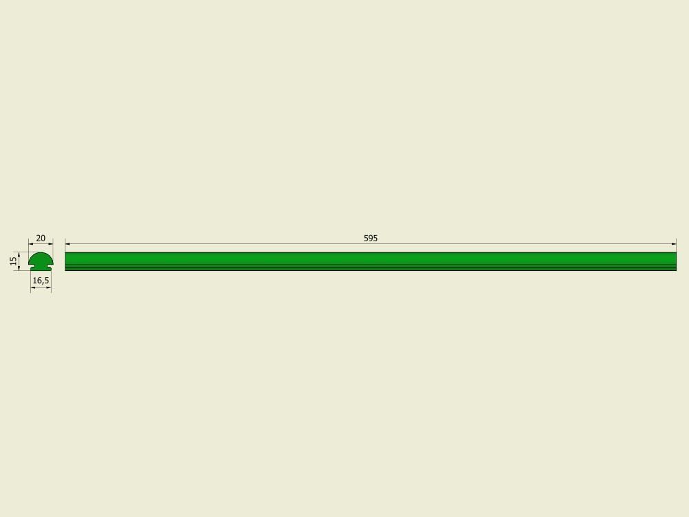 Geleiderstrip PE1000 groen
