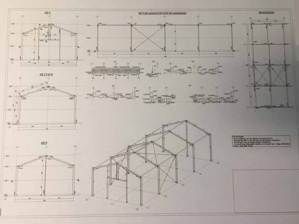 Constructie bedrijfshal staal 8,0m x 20m nieuw