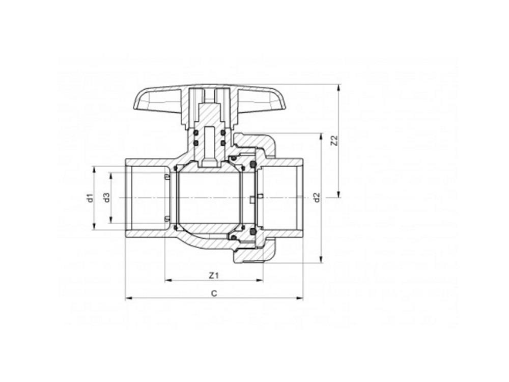 Kogelkraan type: eil 40x40mm viton® dn32 pvc