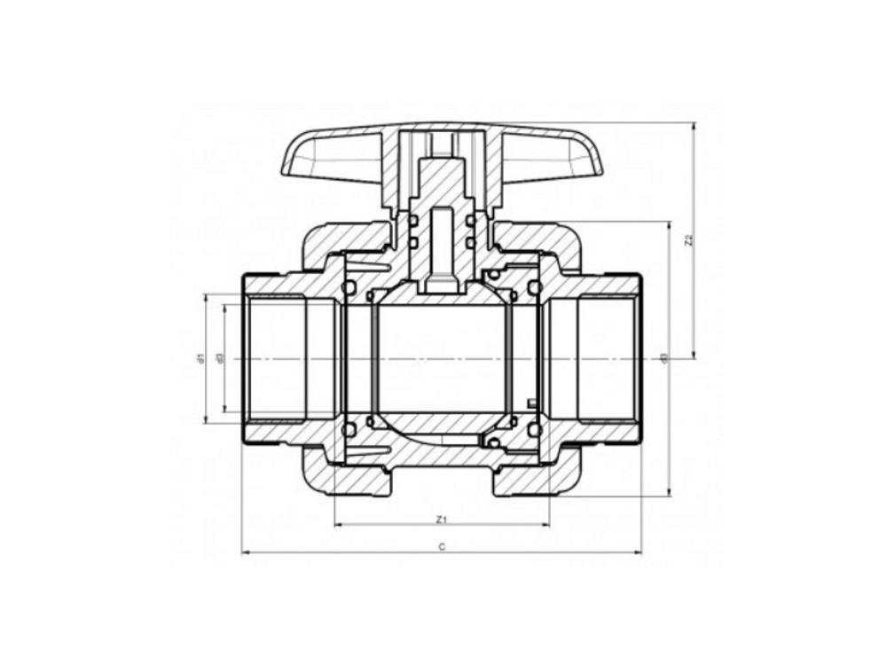 Kogelkraan type: dil 1 1/2 x 1 1/2 dn40 pvc