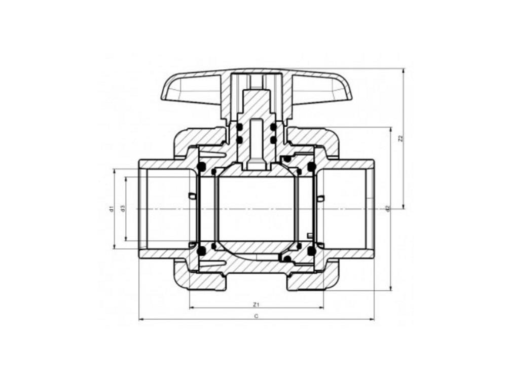 Kogelkraan type: dil 90 x 90mm viton® dn80 pvc