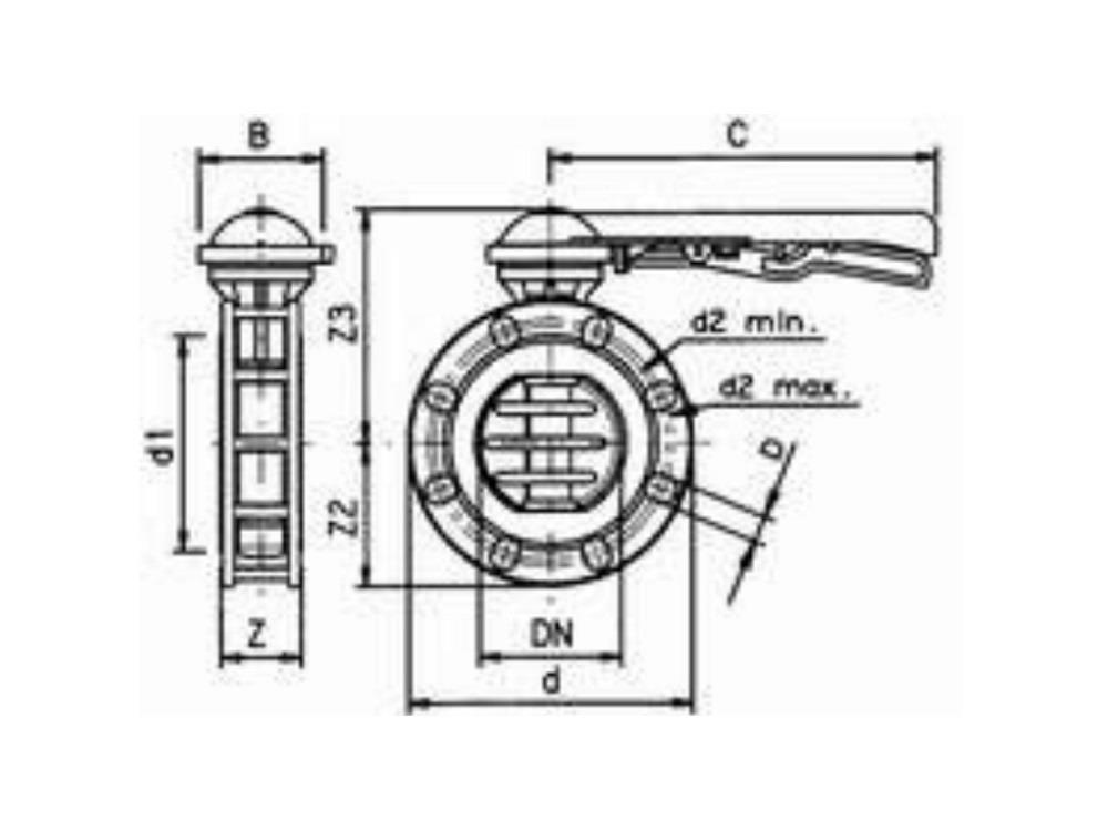 Vlinderklep Ø225 mm pvc los, zonder flensset VDL