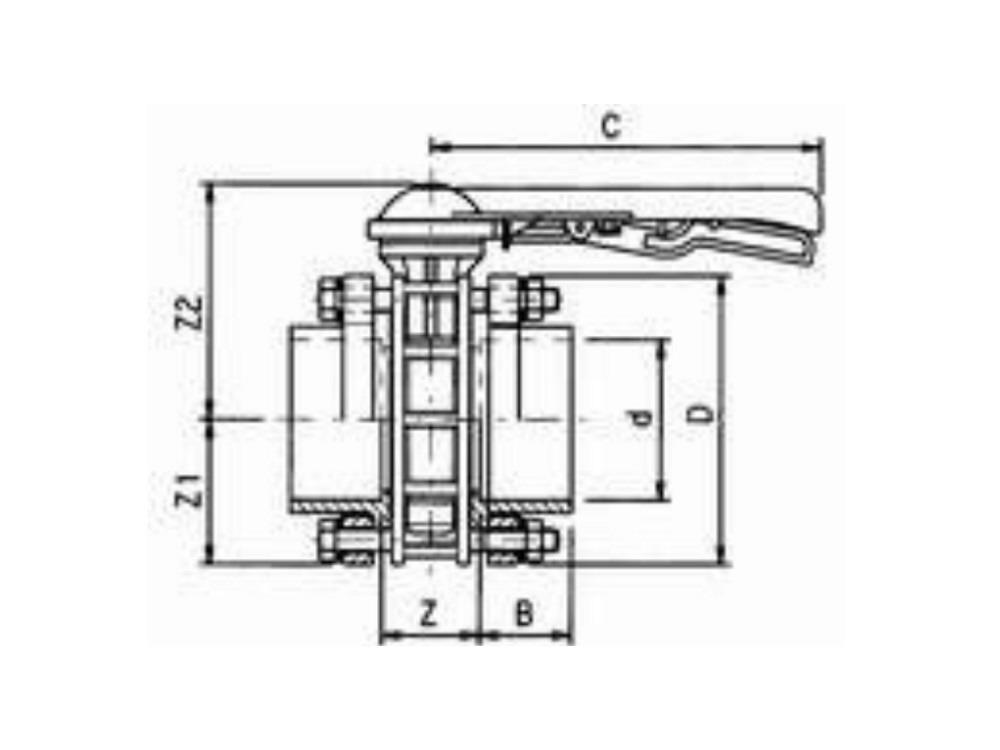 Vlinderklep hand Ø125 mm pvc VDL