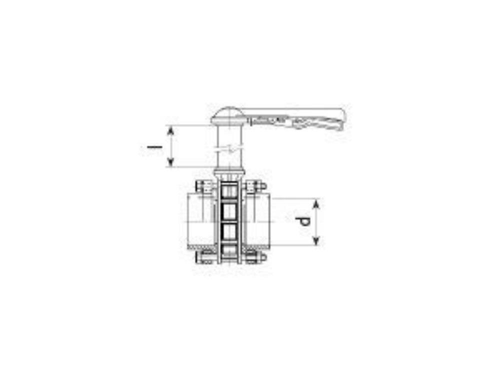 Vlinderklep hand Ø125 mm pvc + verlengde as 1000 mm VDL