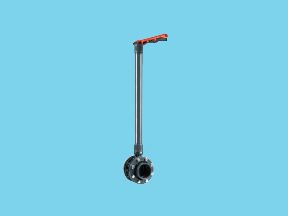 Vlinderklep hand Ø125 mm pvc + verlengde as 1500 mm VDL