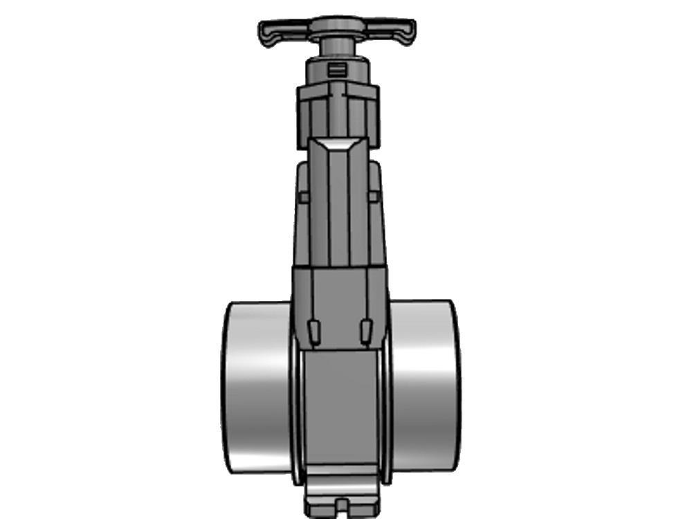 Schuifafsluiter dil 200 (rvs) verloop 1.000 mm