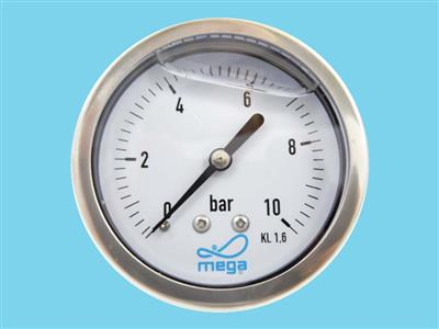 "Manometer RVS 0-60bar 1/4"", O-A 63mm"