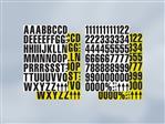 Magnetische cijfers op A4 zwart-geel 2 stuks